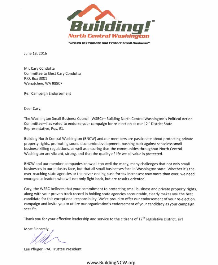 Amazing Building NCW Endorsement Letters
